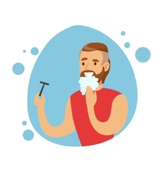 Man Shaving Beard Part Of People In The Bathroom vector