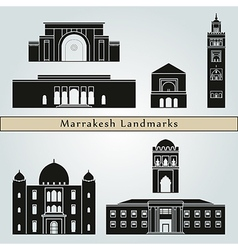 Marrakesh landmarks and monuments vector image