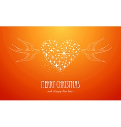 Merry Christmas and Happy New Year stars greeting vector image