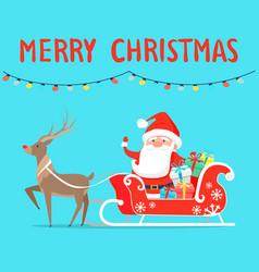 Merry christmas santa with reindeer on sledge vector