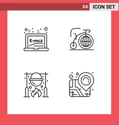 Modern set 4 filledline flat colors and vector