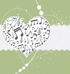music in heart background vector image