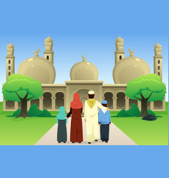 Muslim family going to mosque vector