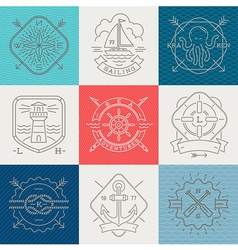 Nautical adventures and travel emblems and signs vector