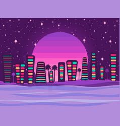Night city on a sunset background a retro vector