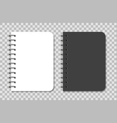 notebook mockup with spiral black and white vector image