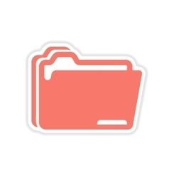 Paper sticker on white background folders vector