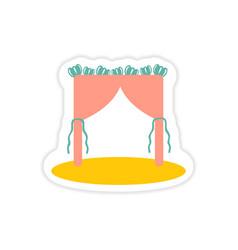 Paper sticker on white background wedding arch vector