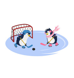 Penguins playing hockey isolated characters vector