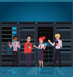 people working data center room or computer server vector image