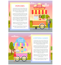 Popcorn and cotton candy set vector