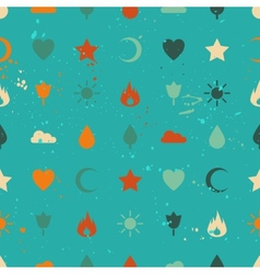 Random retro vintage icons seamless pattern vector image vector image
