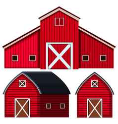 Red barns in three designs vector
