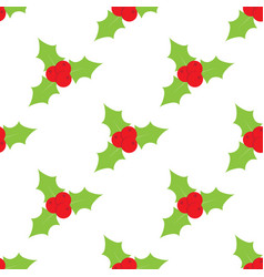 red mistletoe seamless pattern on a white vector image