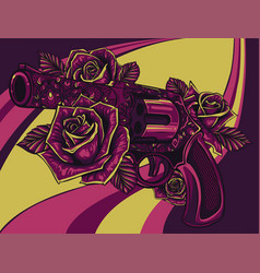 revolver colt with roses vector image