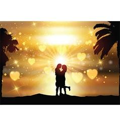 Romantic couple against a sunset sky vector image