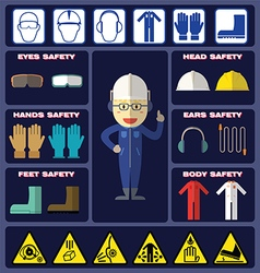 Safety Boy With Safety Equipments vector image