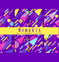 Seamless geometric patterns of memphis style vector