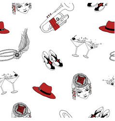 Seamless pattern with attributes of 1920s - pearl vector