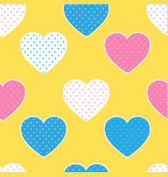 seamless pattern with colorful hearts silhouettes vector image