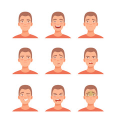 Set male facial emotions vector