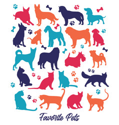 Set nicecolors cats and dogs background vector