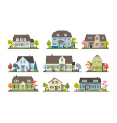 Set of classic cottage house front view vector