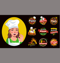 set pizza hand written lettering logo label vector image