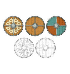 set wood round shields with viking runes iron vector image