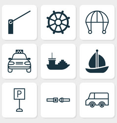 Shipping icons set with cargo boat barrier sail vector