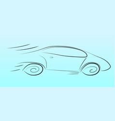 Silhouette a speeding car vector