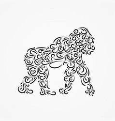 Silhouette of gorillas of their ornate shapes vector