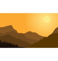 Silhouette of mountain and forest vector