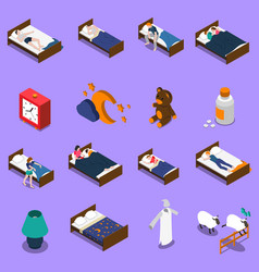 Sleep time isometric icons set vector