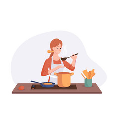 Smiling chef cooking on kitchen table wife cooked vector