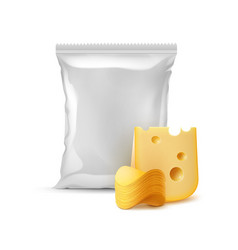 Stack of potato chips with cheese and sealed bag vector