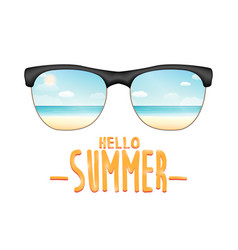 sunglasses reflexing sea beach with hello summer vector image