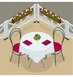 Table with chairs for cafes Modern table and vector