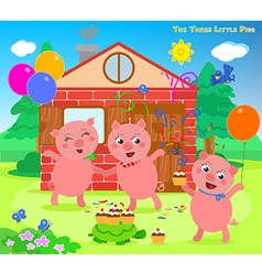 The three little pigs folktale happy ending vector