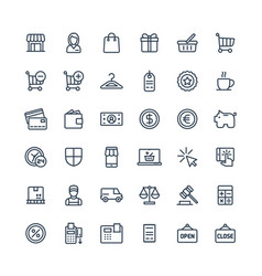 thin line icons set with shopping and e vector image
