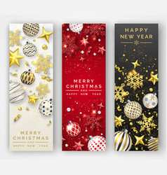 three christmas vertical banners with shining vector image