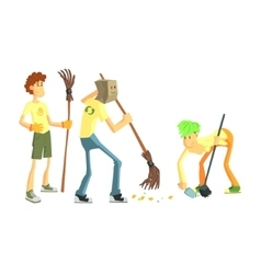 Three Person Collecting Garbage vector