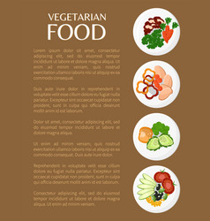 Vegetarian food organic dishes set on plates vector