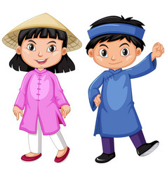 Vietnam boy and girl in tradition outfit vector