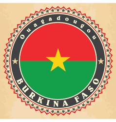 Vintage label cards of Burkina Faso flag vector image