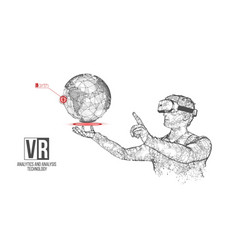 vr headset holographic wireframe planet vector image