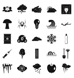 Warning icons set simple style vector