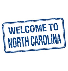 Welcome to North Carolina blue grunge square stamp vector