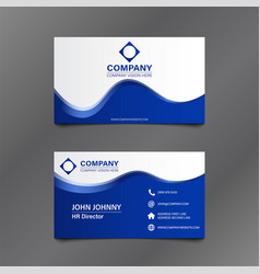 White blue wave business card vector
