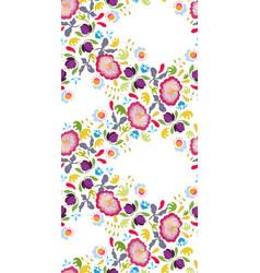 white folk art festoon with pink flower vector image